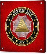 20th Degree - Master Of The Symbolic Lodge Jewel On Red Leather Acrylic Print