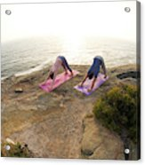 A Man And Woman Practicing Yoga Acrylic Print