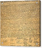 Declaration Of Independence Acrylic Print