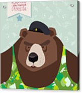 23 February. Bear With Cap. The Vintage Acrylic Print