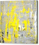 Imagination - Grey And Yellow Abstract Art Painting Acrylic Print