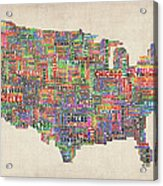 United States Typography Text Map Acrylic Print