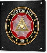 26th Degree - Prince Of Mercy Or Scottish Trinitarian Jewel On Black Leather Acrylic Print