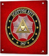 26th Degree - Prince Of Mercy Or Scottish Trinitarian Jewel On Red Leather Acrylic Print