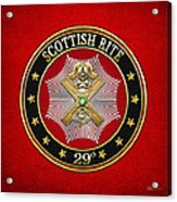 29th Degree - Scottish Knight Of Saint Andrew Jewel On Red Leather Acrylic Print