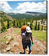 A Backpacker Hiking Acrylic Print