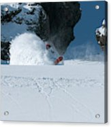 A Male Snowboarder Makes A Series Acrylic Print