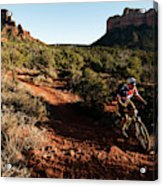 A Middle Age Man Rides His Mountain Acrylic Print