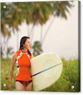A Woman Carries A Surfboard To The Beach Acrylic Print