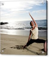 A Women At The Beach Performing Yoga Acrylic Print
