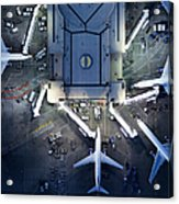 Airliners At  Gates And Control Tower Acrylic Print