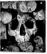 Altered Image Of Skulls And Bones In The Catacombs Of Paris France Acrylic Print