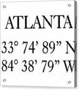 Atlanta Coordinates Acrylic Print