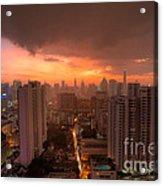 Bangkok City Skyline At Sunset Acrylic Print