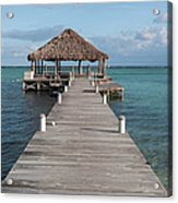Beach Deck With Palapa Floating In The Water Acrylic Print