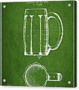 Beer Mug Patent From 1876 - Green Acrylic Print