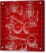 Billiard Bridge Patent 1910 - Red Acrylic Print