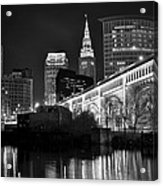 Black And White Cleveland Iconic Scene Acrylic Print