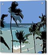 Blue Beach Umbrellas Acrylic Print