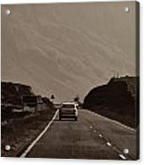 Cars And Other Vehicles On A Road In The Scottish Highlands Acrylic Print