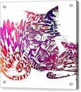 3 Cats Purple Acrylic Print