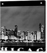 Chicago Skyline At Night In Black And White Acrylic Print