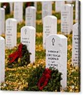 Christmas Wreaths Laid At The Arlington Cemetery Acrylic Print