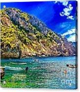 Cliffside Coastline On Corfu Acrylic Print