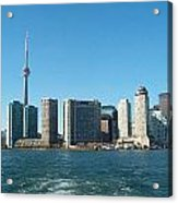 Cn Tower Toronto View From Centre Island Downtown Panorama Improvised With Graphic Artist Tools Pain Acrylic Print