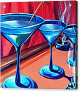3 Cobalt Martinis On Copper Bar Acrylic Print