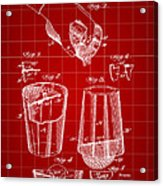 Cocktail Mixer And Strainer Patent 1902 - Red Acrylic Print