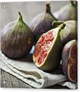 Delicious Figs On Wooden Background Acrylic Print