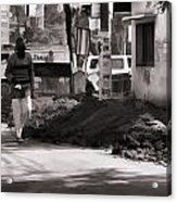 Digging A Ditch At The Side Of A Road In Roorkee Acrylic Print