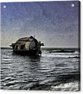 Digital Oil Painting - A Houseboat Moving Placidly Through A Coastal Lagoon In Alleppey Acrylic Print
