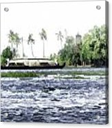 Digital Oil Painting - A Houseboat On Its Quiet Sojourn Through The Backwaters Acrylic Print