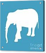 Elephant In White And Turquoise Acrylic Print