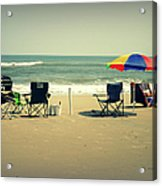 3 Empty Beach Chairs Acrylic Print