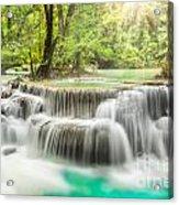 Erawan Waterfall In Kanchanaburi Province Acrylic Print