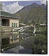 Fallen Tree In Water Pool Inside The Shalimar Garden In Srinagar Acrylic Print