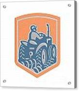 Farmer Driving Tractor Plowing Farm Shield Retro Acrylic Print