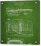 Fender Floating Tremolo Patent Drawing From 1961 - Green Acrylic Print by Aged Pixel