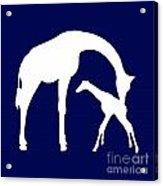 Giraffe In Navy And White Acrylic Print
