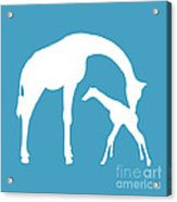 Giraffe In White And Turquoise Acrylic Print