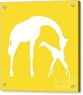 Giraffes In Golden And White Acrylic Print