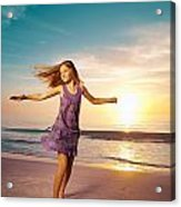 Girl Jumping And Dancing On Beautiful Beach. Acrylic Print