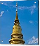 Golden Pagoda With Blue Sky At Wat Phra That Hariphunchai Acrylic Print