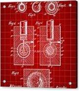 Golf Ball Patent 1902 - Red Acrylic Print