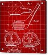 Golf Club Patent 1926 - Red Acrylic Print
