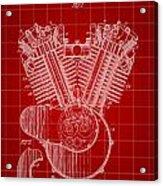 Harley Davidson Engine Patent 1919 - Red Acrylic Print