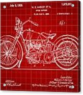 Harley Davidson Motorcycle Patent 1925 - Red Acrylic Print